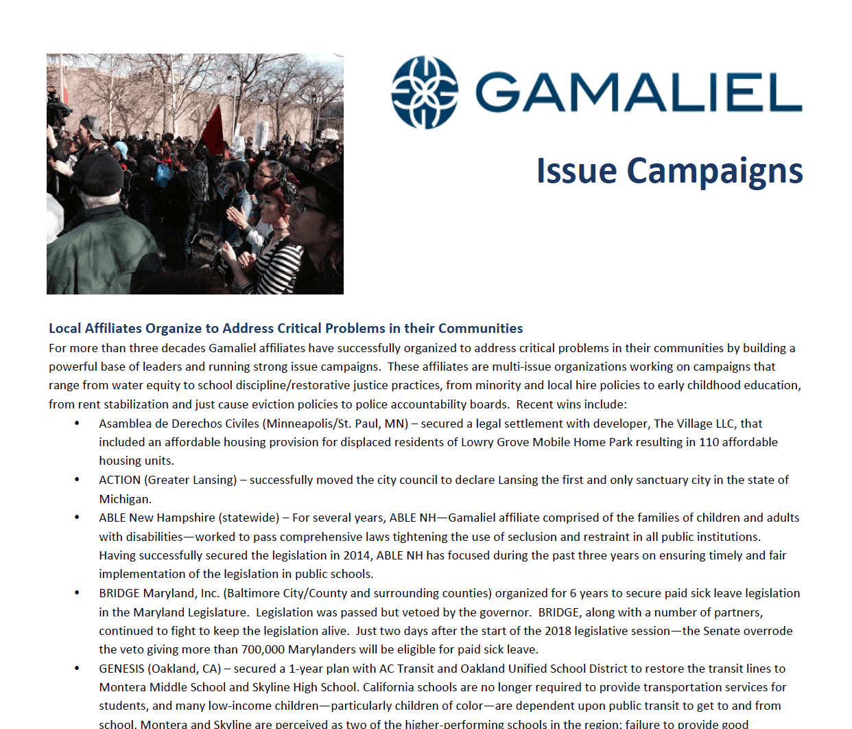 Gamaliel Issue Campaigns