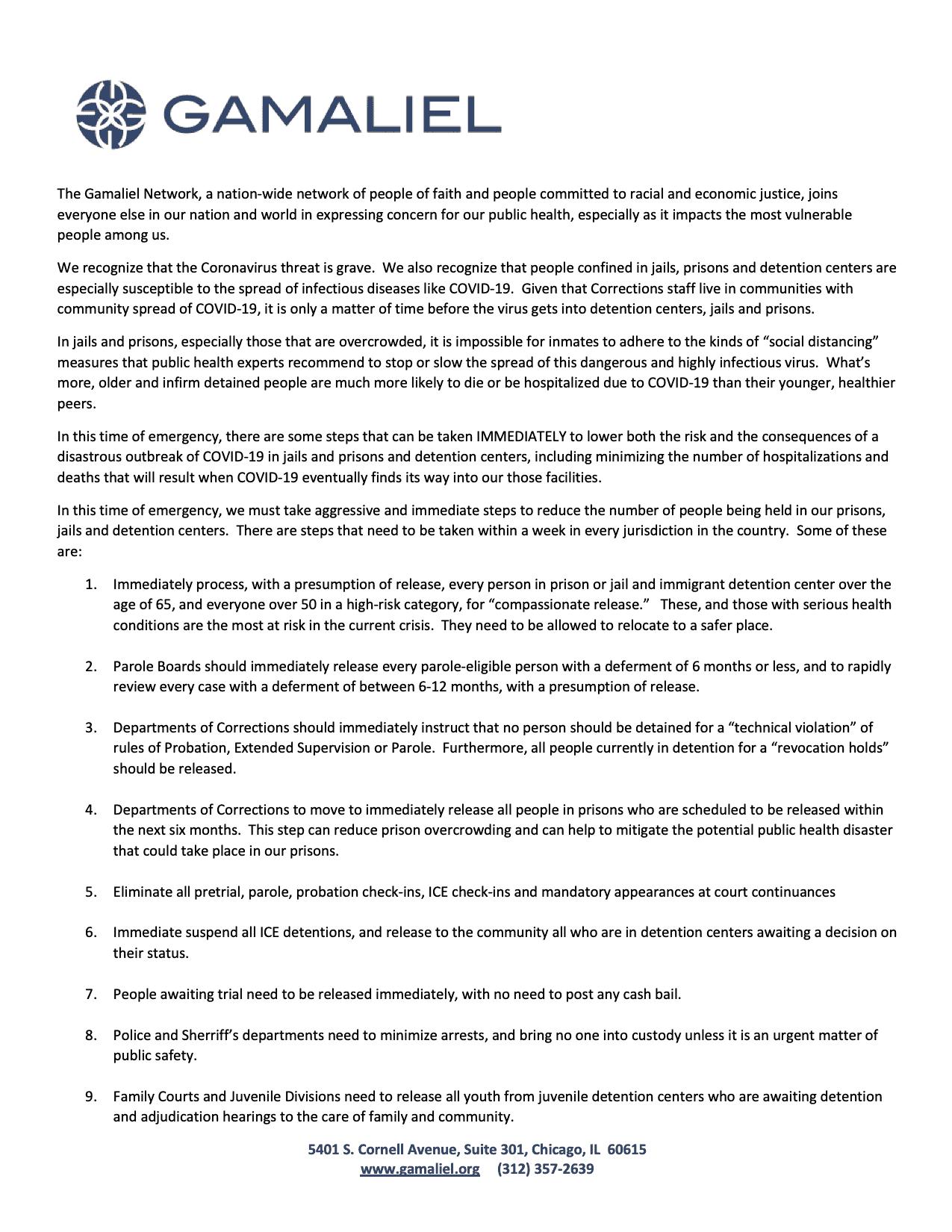 Gamaliel Decarceration Statement March 19, 2020