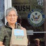 Sr. Dolores Sanchez, OSF, delivering apple pie and rice and beans