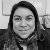 Black and white photo of Victoria Jimenez-Morales